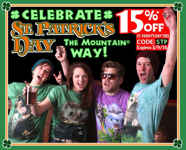 15% off St Paddy's Day Tees. Use Code: STP. expires 3/9/14