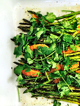 Asparagus, blood orange, cilantro, and Asian dressing.