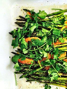 Asparagus, blood orange, cilantro, and Asian dressing.