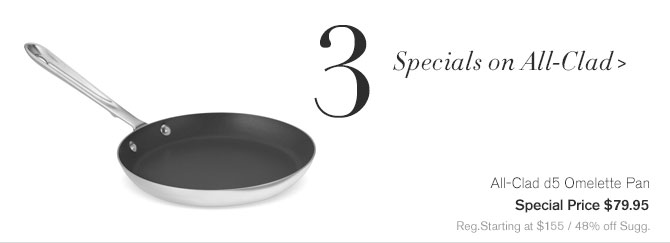 3. Specials on All-Clad - All-Clad d5 Omelette Pan - Special Price $79.95 - Reg.Starting at $155 / 48% off Sugg.
