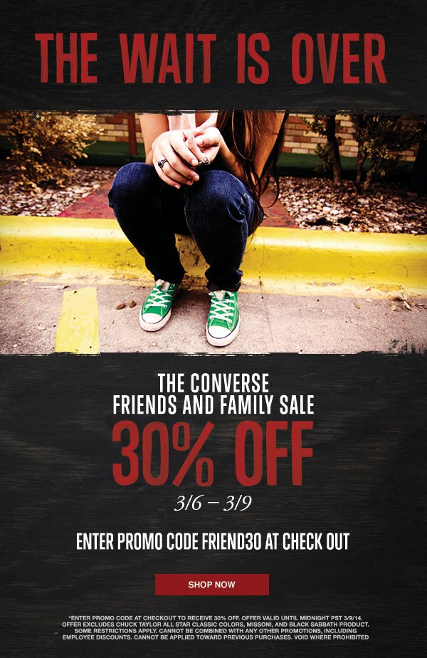 Converse Outlet Friends and Family Take 30% Off