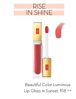 RISE IN SHINE. Beautiful Color Luminous Lip Gloss in Sunset, $18.