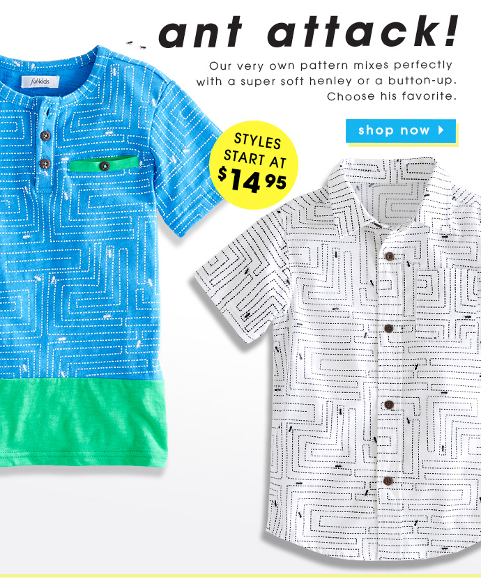 Ant Attack! Tops Starting At $14.95.