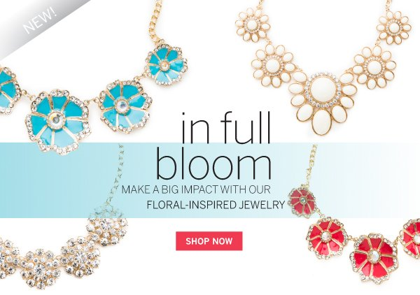 New floral designed jewelry has arrived.