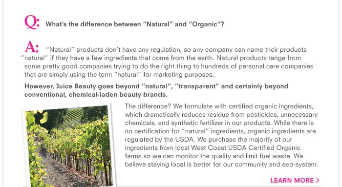 "What's the difference between ""Natural"" and ""Organic""?"