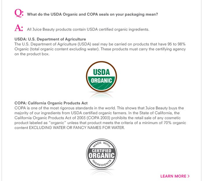 What do the USDA Organic and COPA seals on your packaging mean?