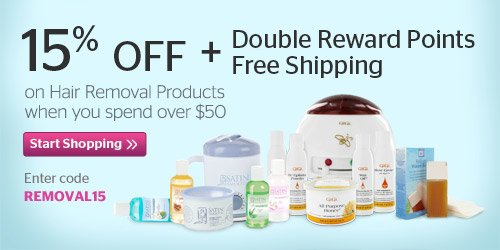 15% off + Double Reward Points + Free Shipping on Hair Removal Products