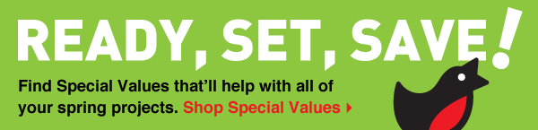 Ready, Set, Save! Find Special Values that'll help with all of your spring projects. Shop Special Values.