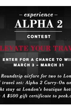 Experience Alpha 2 Contest - Enter on Facebook