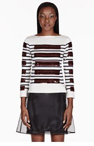 MARC JACOBS Ivory Sequined Boatneck T-shirt for women