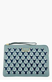 MARC JACOBS Blue-Grey & Navy Leather Double Perforated Clutch for women