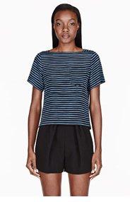MARC JACOBS Bule silk striped boatneck pocket t-shirt for women
