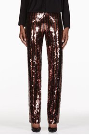 MARC JACOBS Black & Copper Striped Sequin Trousers for women