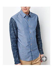 Long Sleeve Chambray Shirt With Contrast Sleeves SGD 39.90