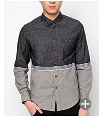 Long Sleeve Chambray Shirt With Cut & Sew SGD 39.90
