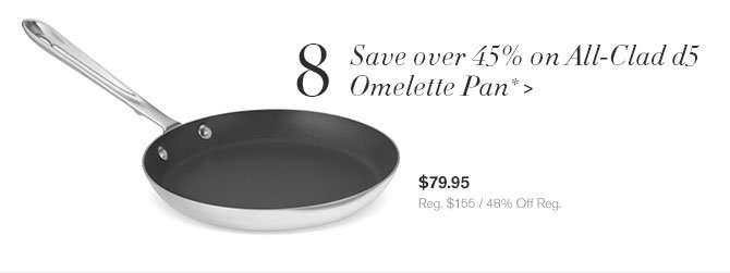 8 - Save over 45% on All-Clad d5 Omelette Pan* - $79.95 - Reg. $155 / 48% Off Reg.