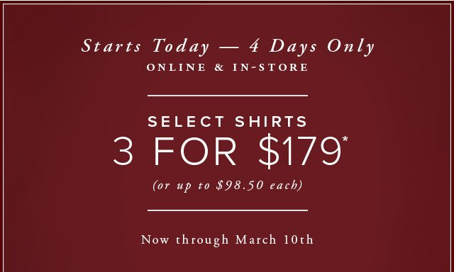 STARTS TODAY - ONLINE & IN-STORE