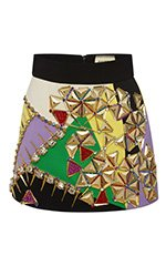 Embellished Multicolor Mini Skirt
