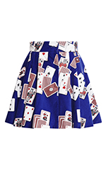 Blue Dynamo Playing Cards Velvet Mini Skirt