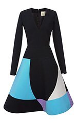 Long Sleeve Cady Dress With Intarsia Skirt