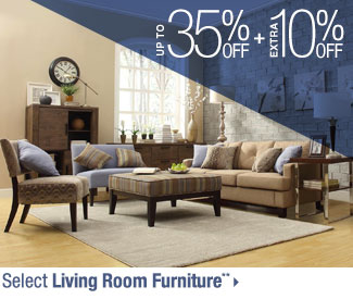 Up to 35% off + Extra 10% off Select Living Room Furniture**