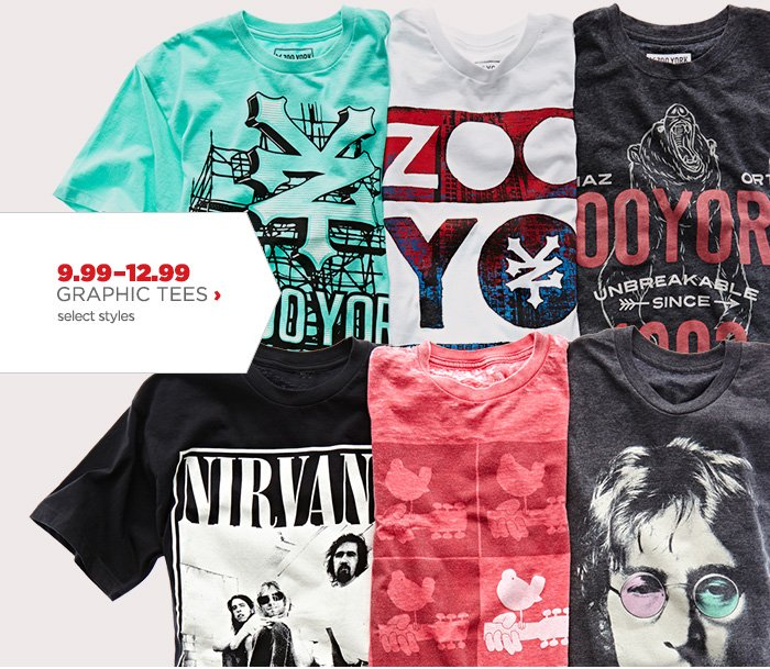 9.99–12.99 GRAPHIC TEES ›           select styles