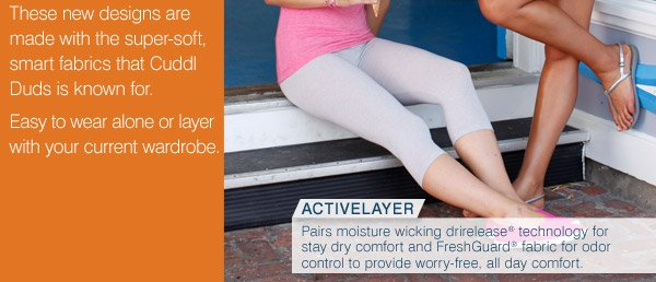 ActiveLayer Pairs moisture wicking drirelease® technology for stay dry comfort and FreshGuard® fabric for odor control to provide worry-free, all day comfort.