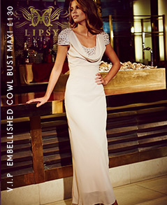 V I P Embellished Cowl Bust Maxi Dress