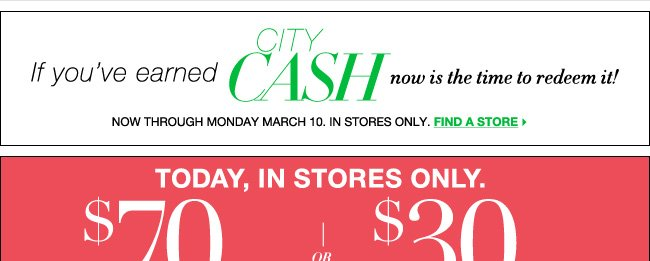 Redeem City Cash Now! Didn't Earn City Cash? Save $70 with this Coupon!