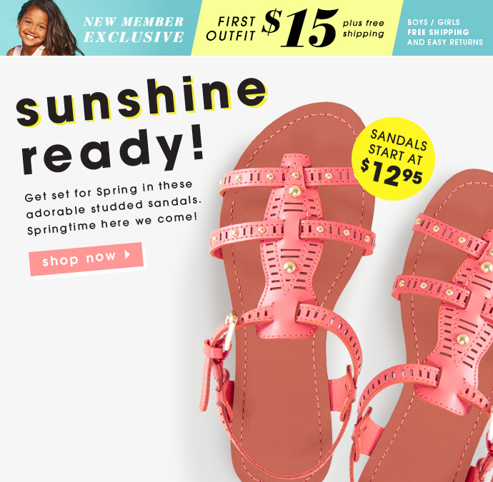 Sunshine Ready Sandals. Starting At $12.95!