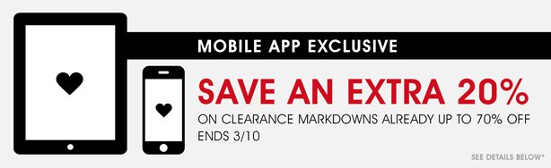 Mobile Shopper: Save An Extra 20% on Clearance