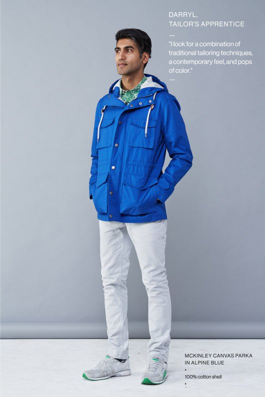 Darryl, Tailor's Apprentice - McKinley Canvas Parka in Alpine Blue - I look for a combination of traditional tailoring techniques, a contemporary feel, and pops of color. - 100% cotton shell