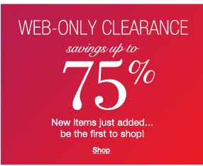 Web-only Clearance up to 75% off