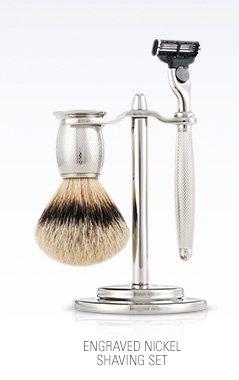 Engraved Nickel Shaving Set