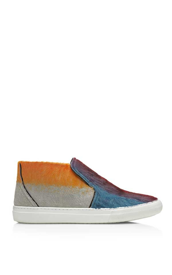 Hairy Calf And Patent Calf Multi Colored Sneaker
