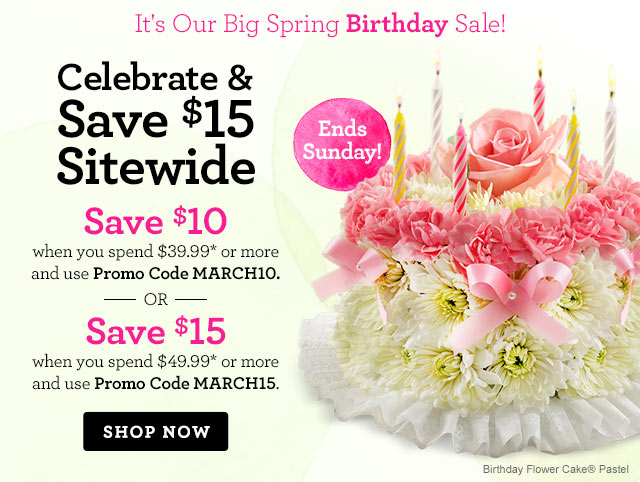 It's Our Big Spring Birthday Sale! Celebrate & Save $15 Sitewide  Save $10 when you spend $39.99* or more and use Promo Code MARCH10. --OR— Save $15 when you spend $49.99* or more and use Promo Code MARCH15.  Shop Now