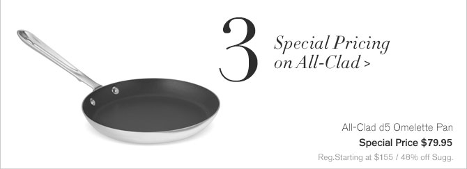 3. Special Pricing on All-Clad - All-Clad d5 Omelette Pan - Special Price $79.95 - Reg.Starting at $155 / 48% off Sugg.