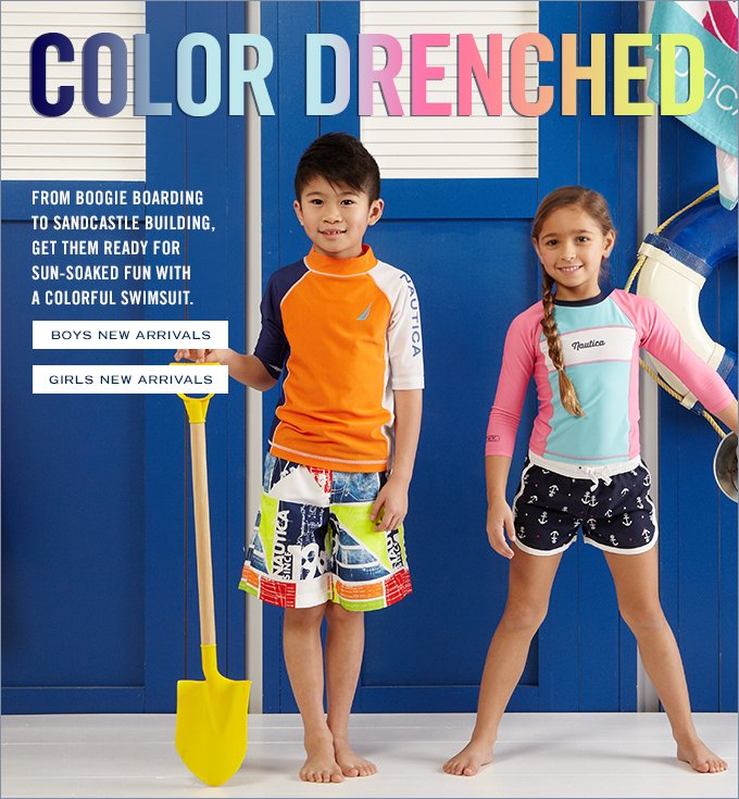 COLOR DRENCHED! From boogie boarding to sandcastle building, nothing says sun-soaked fun like a colorful swimsuit.