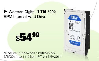 Western Digital 1TB 7200 RPM Internal Hard Drive - 48 Hours only