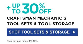 + Up to 30% off Craftsman Mechanic's Tool Set & Tool Storage | Shop Tool Sets & Storage | Total savings range: 5%-50%.