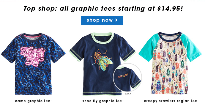 All graphic tees $14.95.