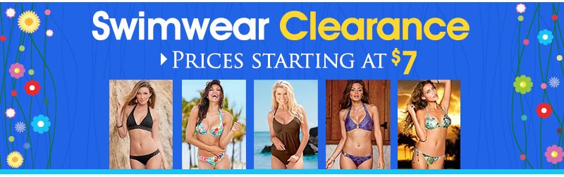 Prices starting at $7 - Shop Swimwear Clearance!