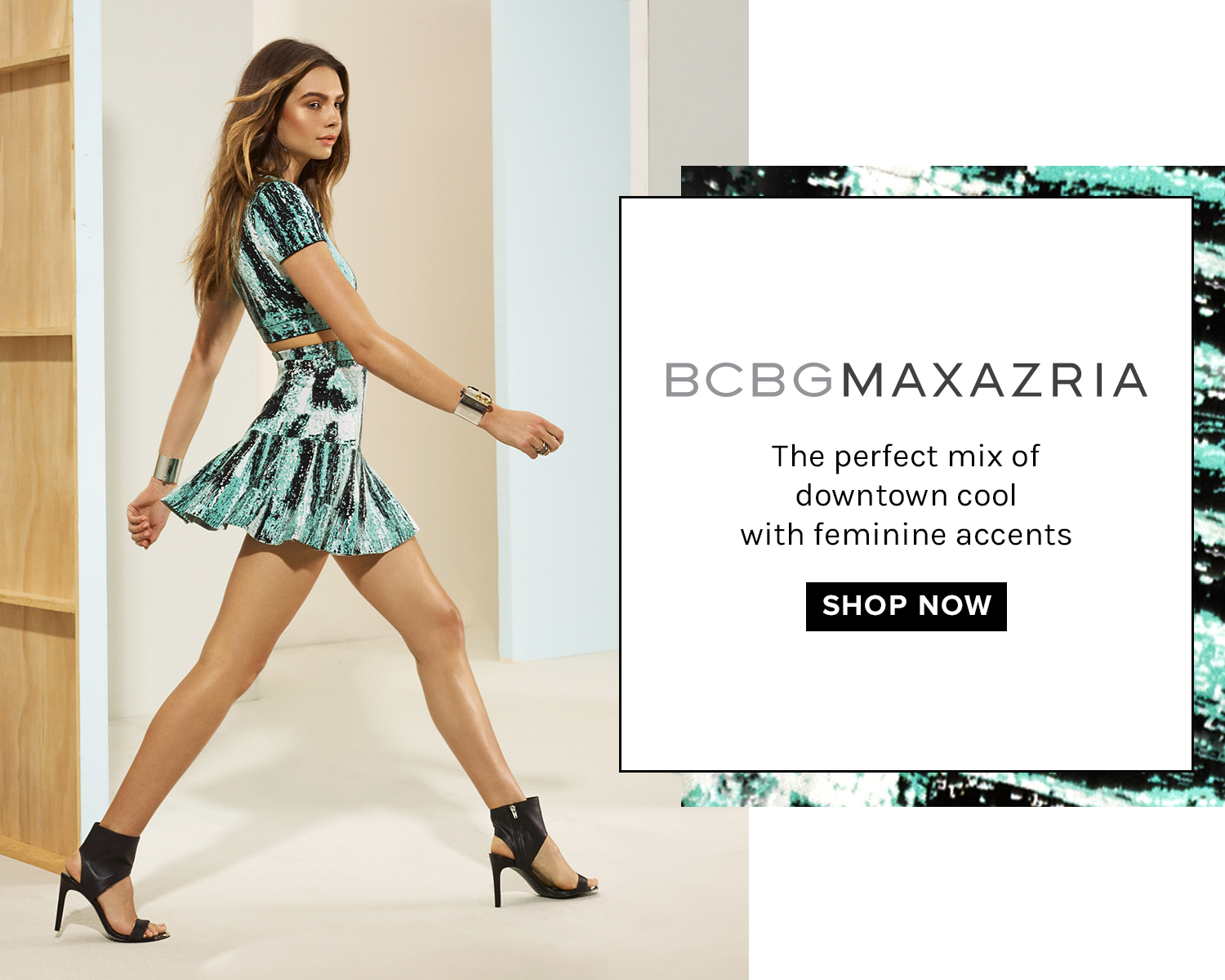 BCBG. The perfect mix of downtown cool with feminine accents.