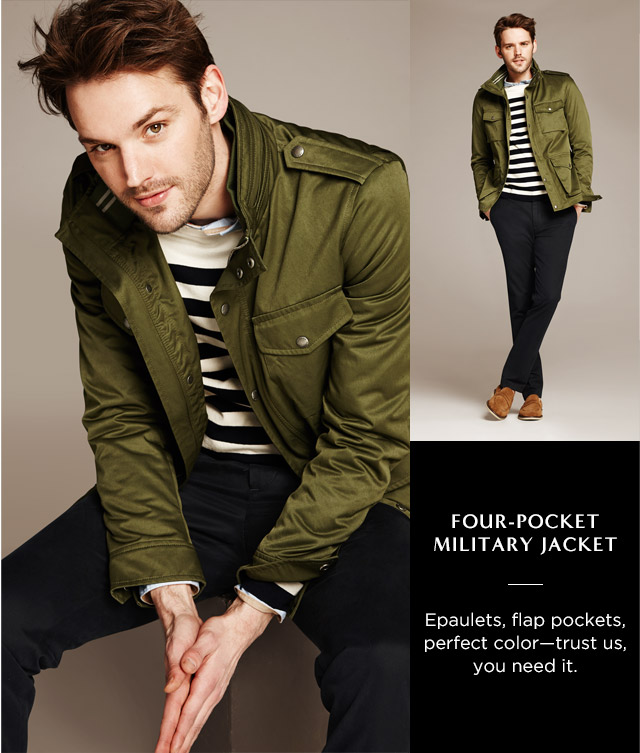 FOUR-POCKET MILITARY JACKET | Epaulets, flap pockets, perfect color—trust us, you need it.