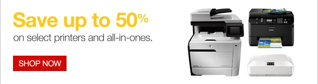 Save up to 50% on select printers and all-in-ones. Shop now.