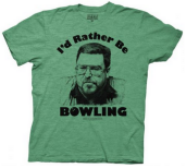 The Big Lebowski Walter I'd Rather Be Bowling Heather Green Adult T-shirt