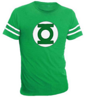 The Green Lantern Logo With Striped Sleeves Green Adult T-shirt