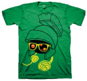 Looney Tunes Marvin the Martian Headphones & Glasses Green Adult T-shirt