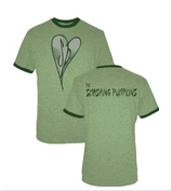 The Smashing Pumpkins Distressed Heart Heather Green Adult T-shirt