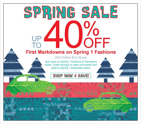 Spring 1 Fashions Just Reduced! Up to 40% Off Spring Sale!